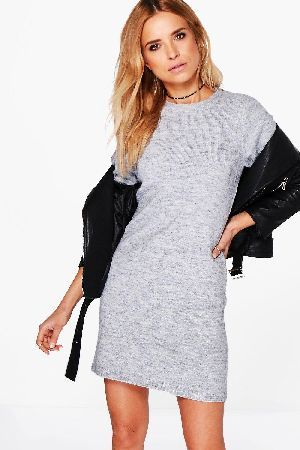 boohoo knitted jumper dress  grey czz96211 ava knitted