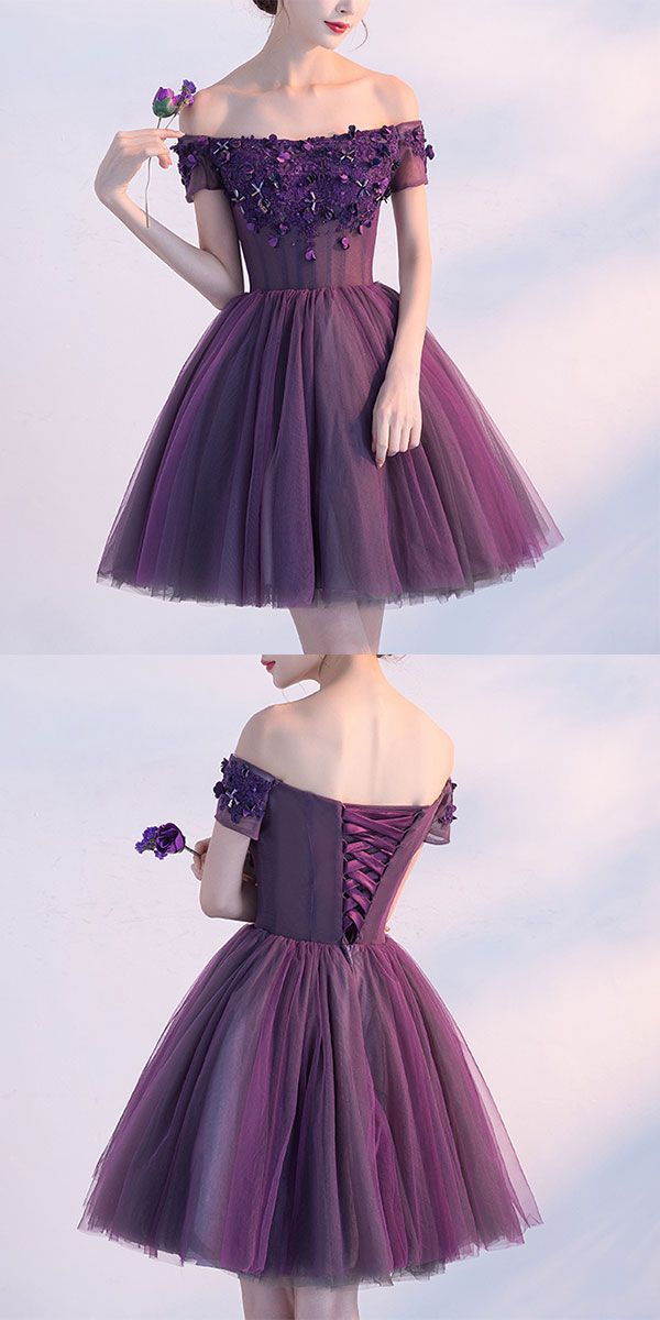 Cute A line purple off shoulder short prom dress, homecoming dress ...