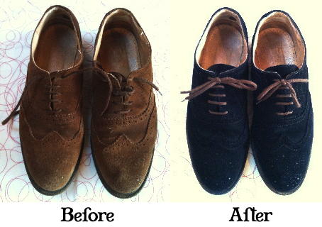 514169cb0208 Blue Suede Shoes  How to dye your own shoes!