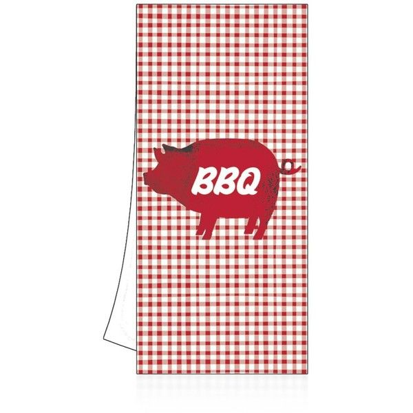 Ppd Bbq Pig Kitchen Towel (18 BGN) ❤ Liked On Polyvore Featuring Home,