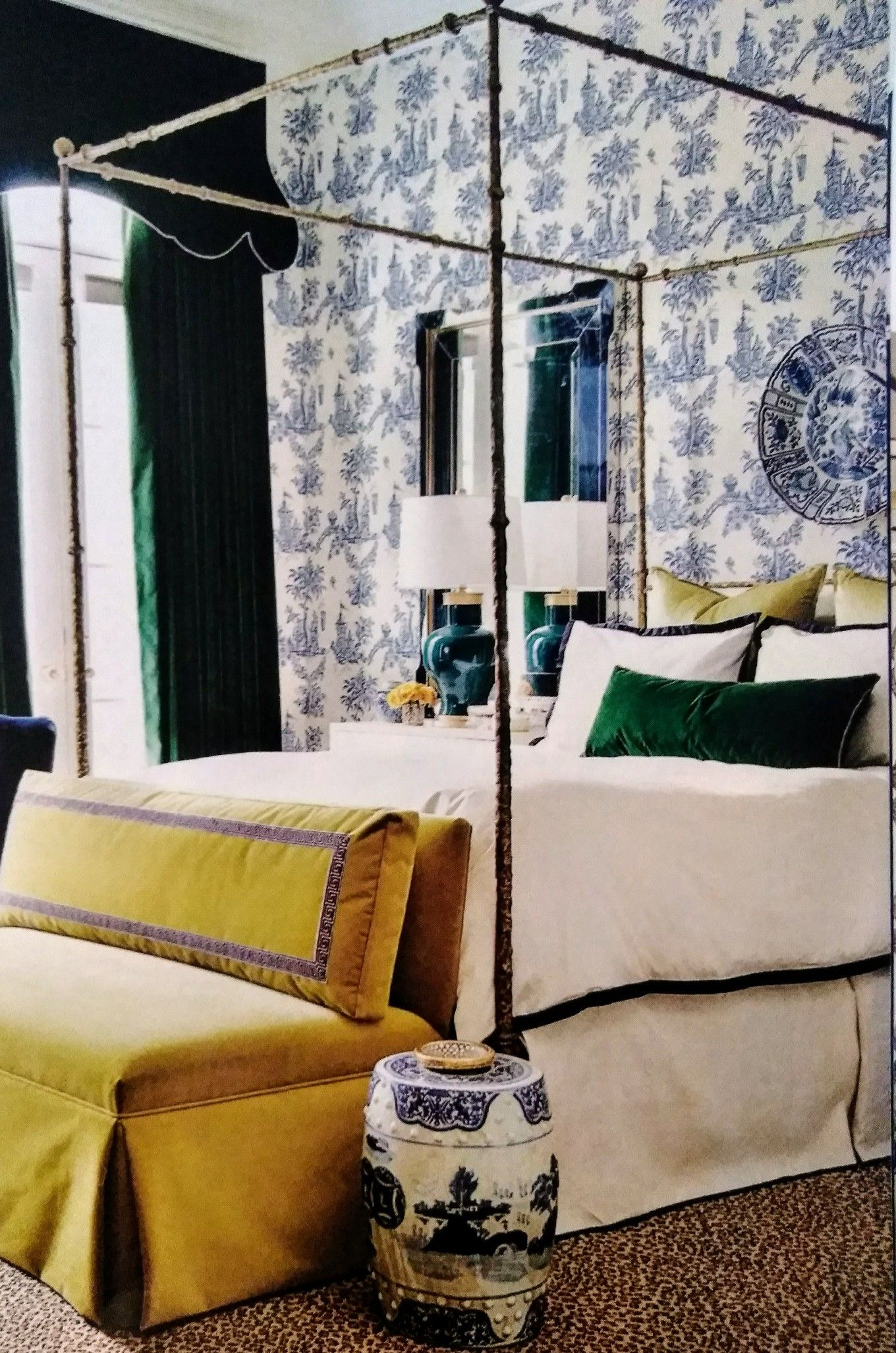 blue toilet green velvet curtains yellow settee traditional home april 2016