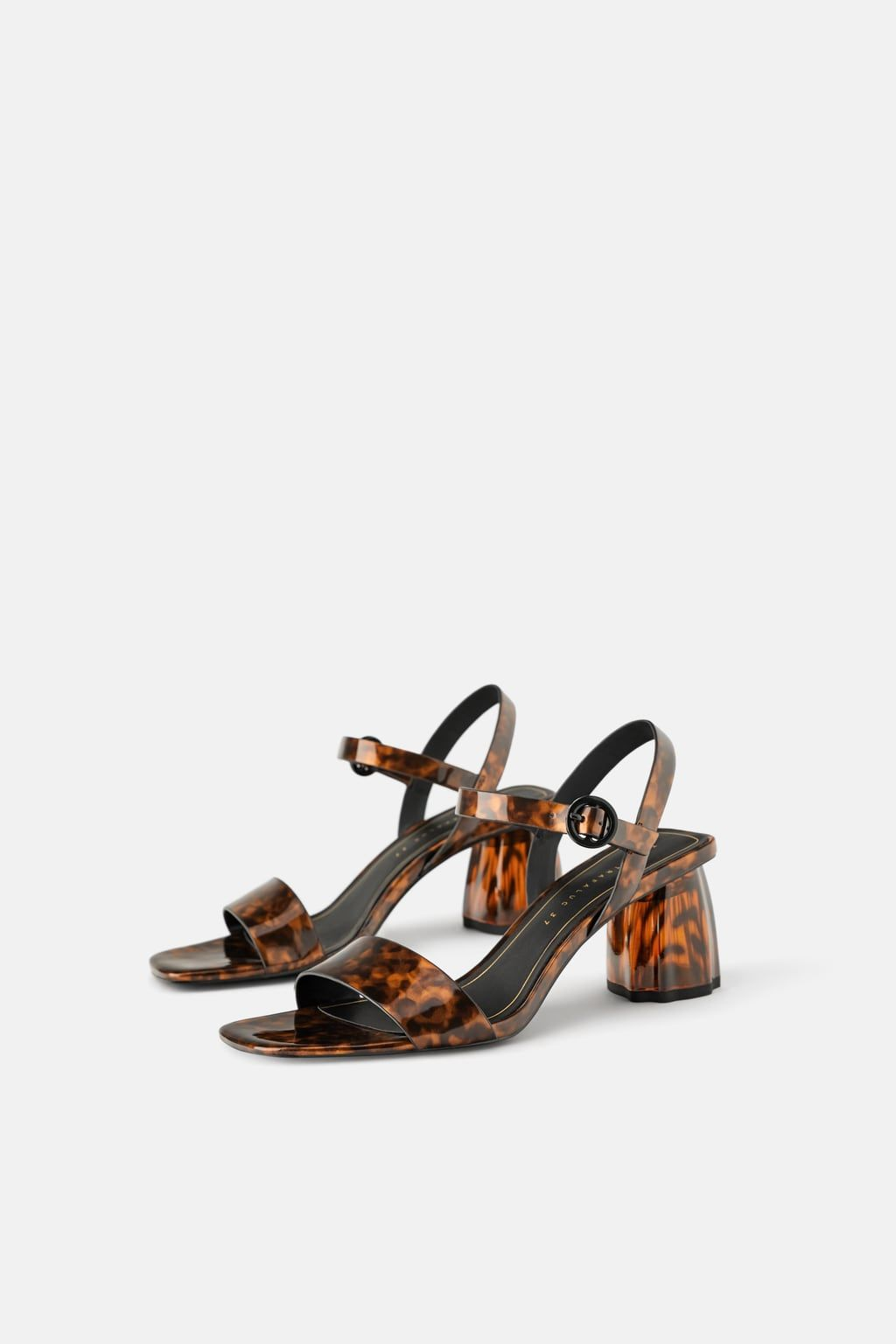 ca1e5ccd7053f Tortoiseshell chunky heel sandals in 2019 | To Wear | Sandals, Zara ...