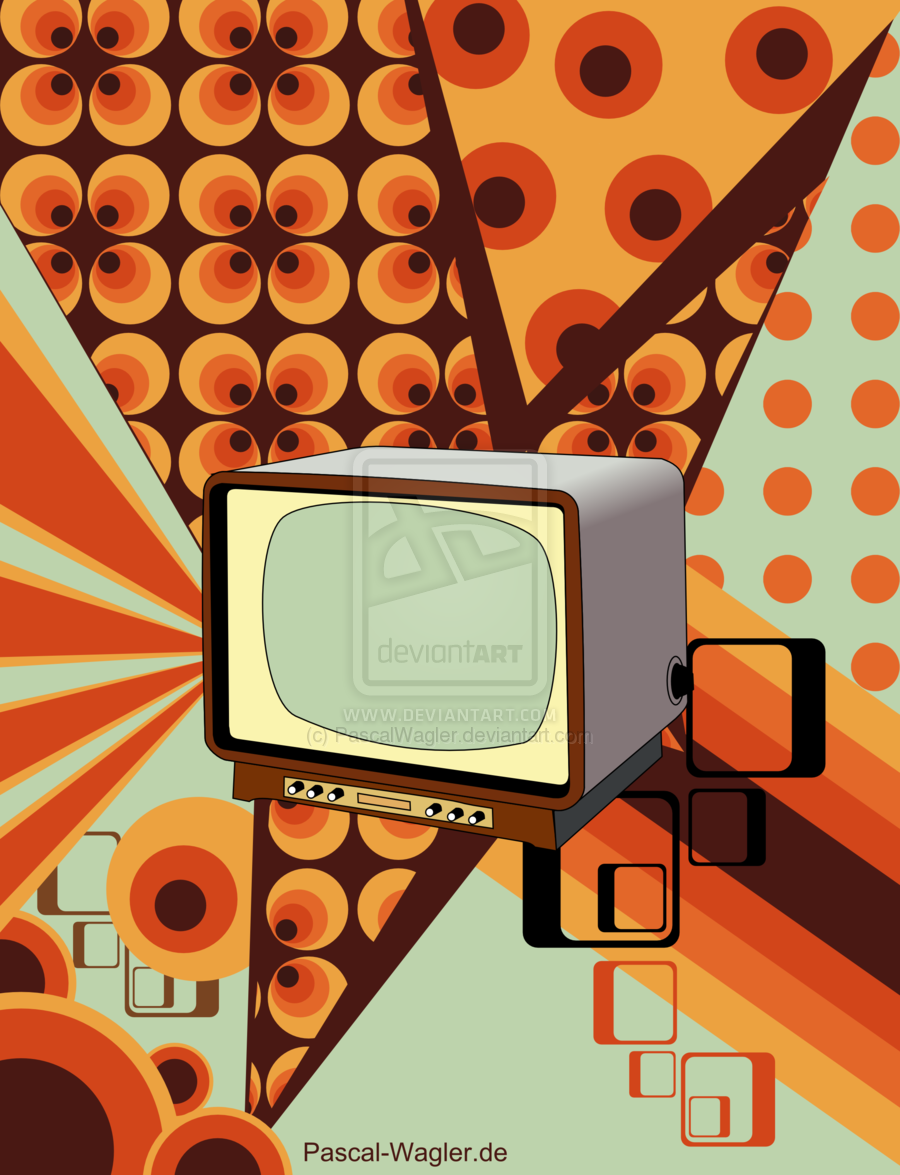 Retro Television Wallpaper Room Art Vintage Mid Century