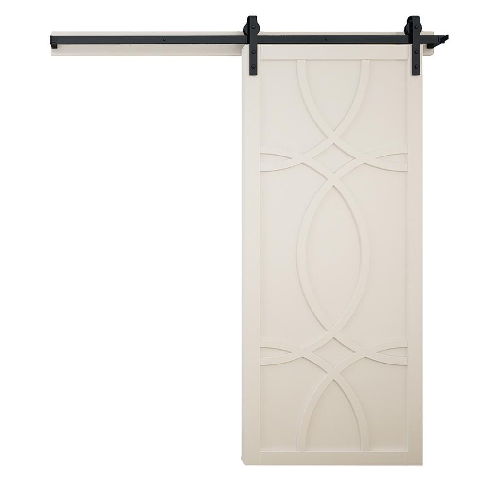 Verycustom 36 In X 84 In Hollywood Off White Wood Sliding Barn Door With Hardware Kit Rwhw36owb1 In 2020 Wood Barn Door Barn Door Designs Barn Style Sliding Doors