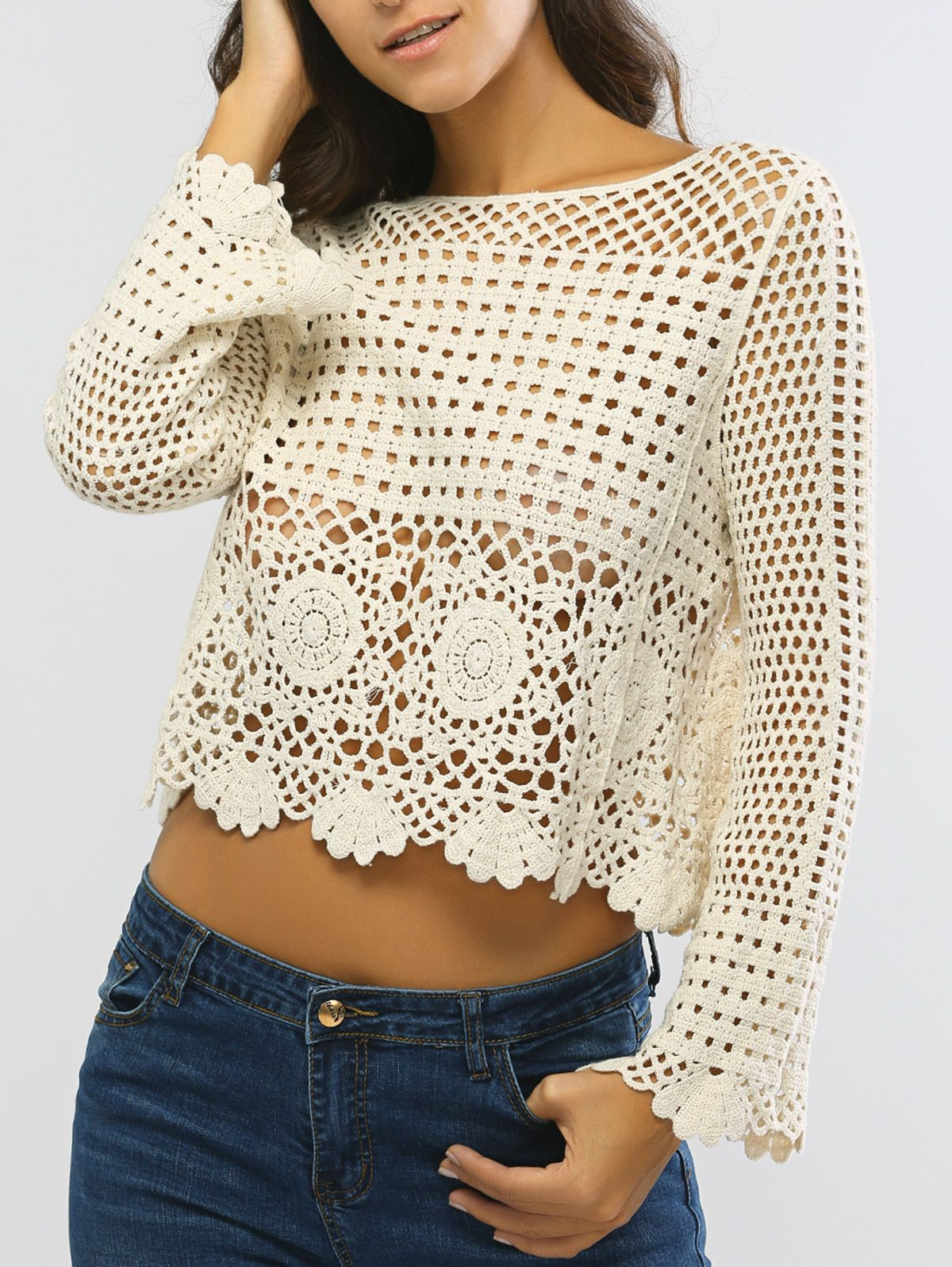 Laciness Hollow Out Cropped Knitted Top Ganchillo Crochet Blouse