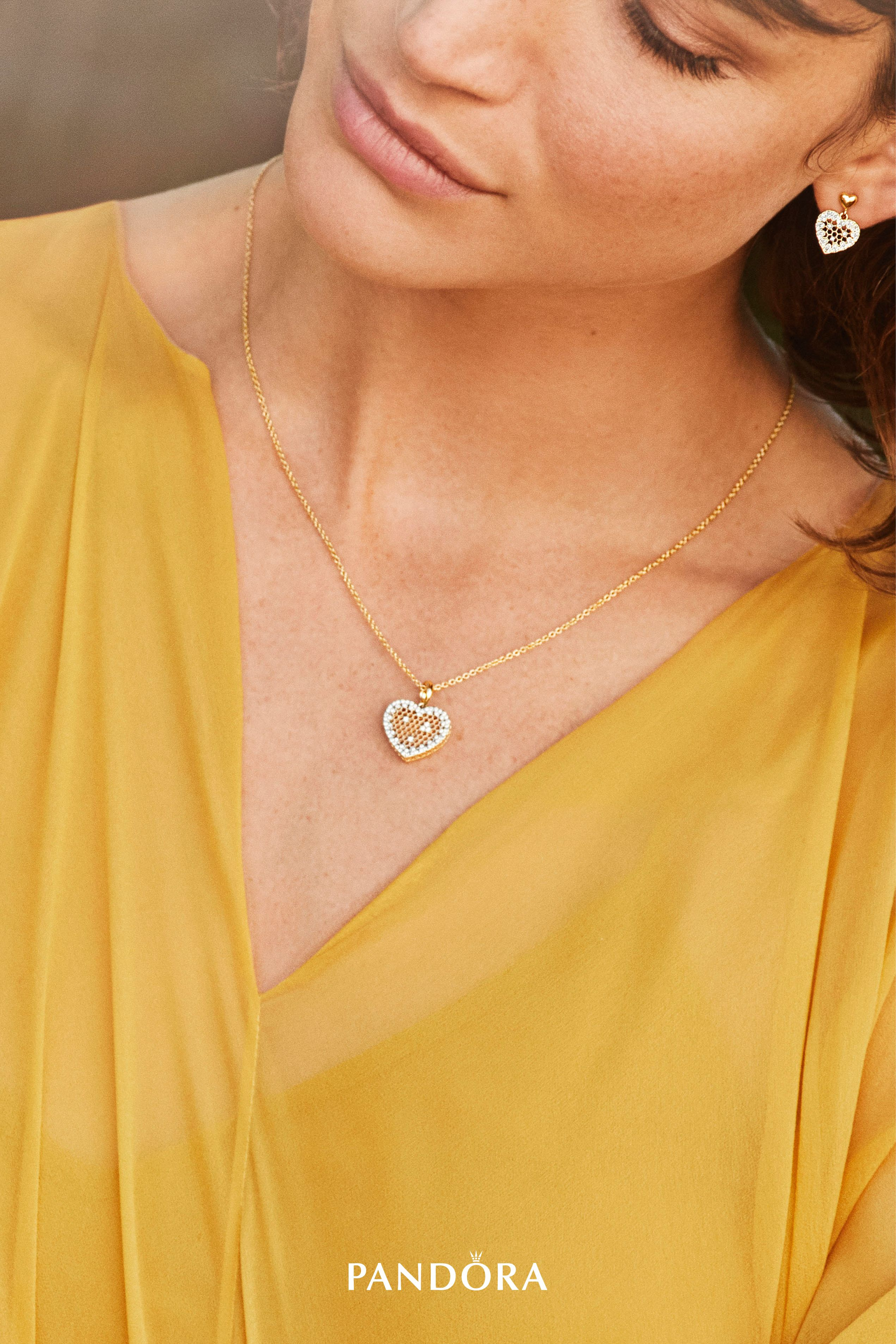1b6e75e06 Show your sweet side with our new PANDORA Shine honeycomb-inspired earrings  and necklace pendants. Crafted in 18k gold-plated sterling silver, their  lavish ...