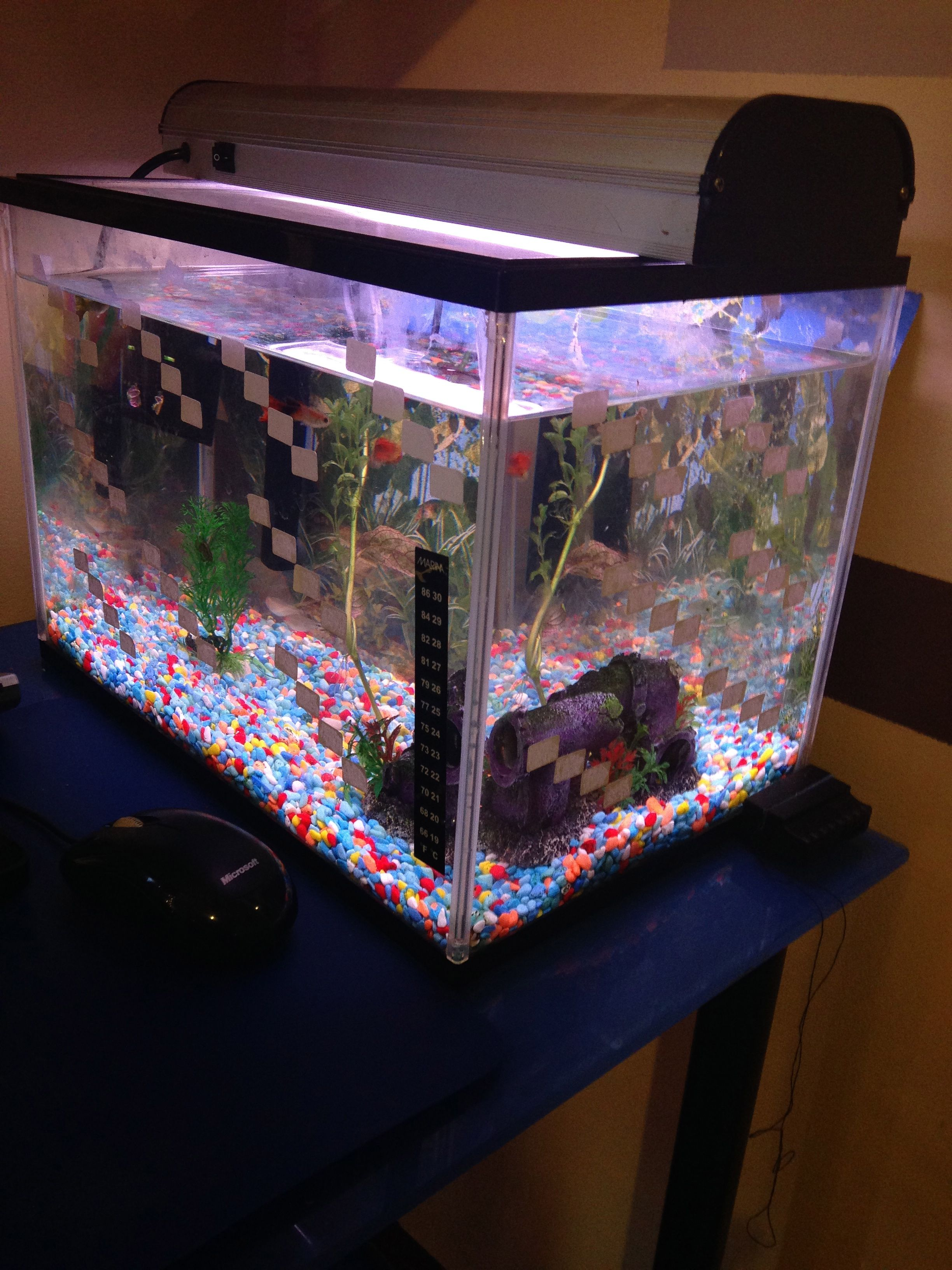 Using white stickers to make the fish tank look like for Fish tank bedroom ideas