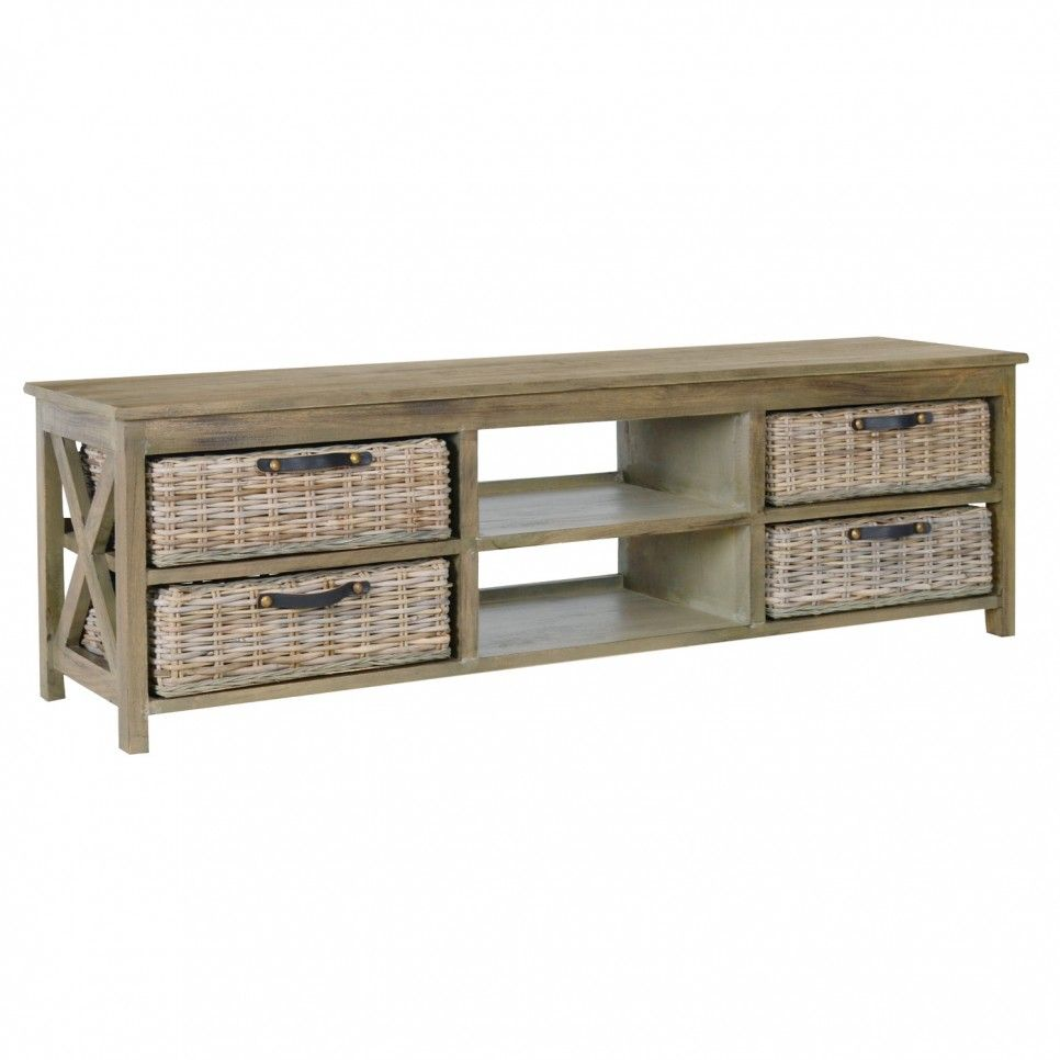 Coffee Tables With Basket Storage Furniture Rustic Low Profile Tv Console Table With Rattan Basket