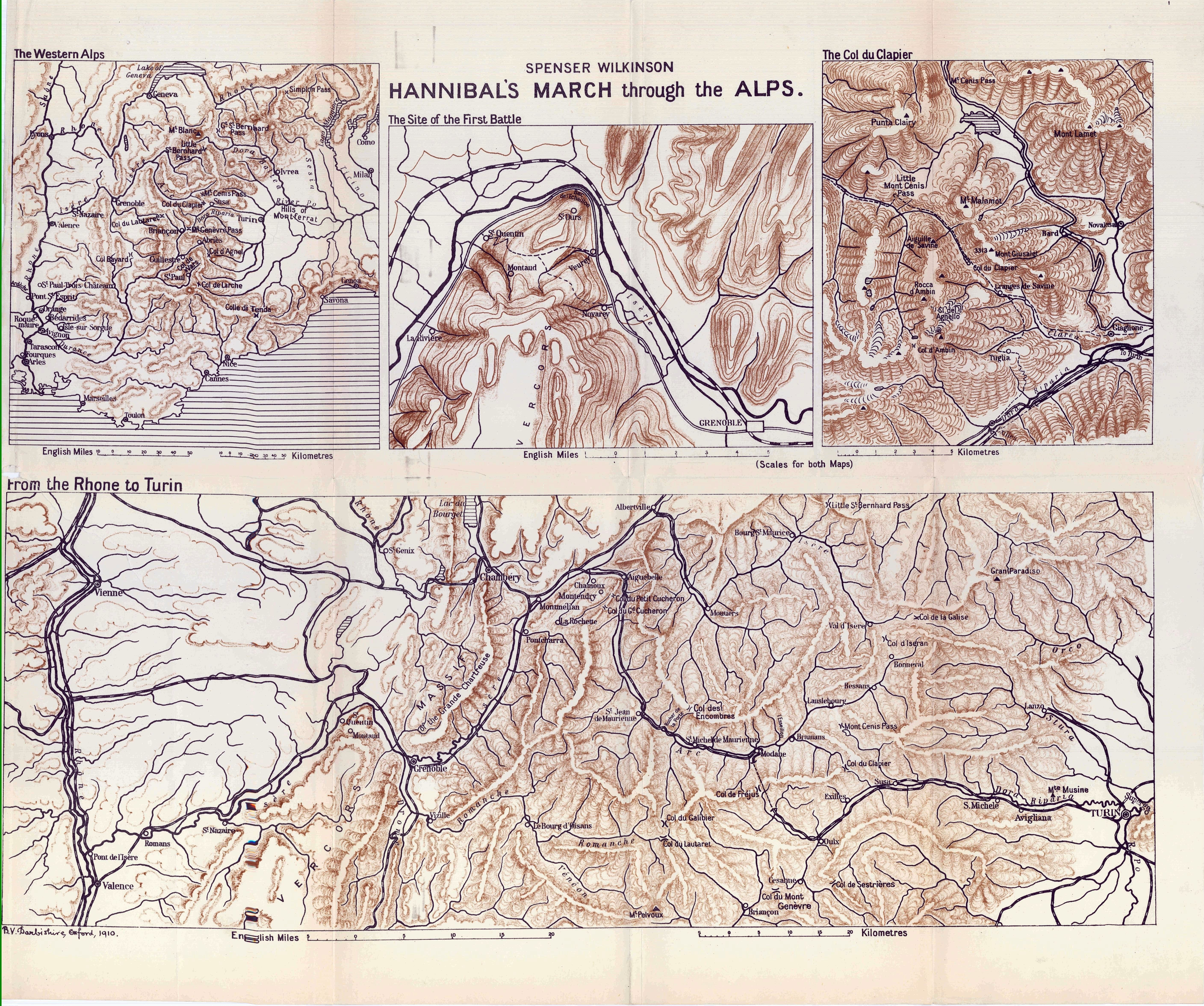 Map of the theorized route of Hannibal through the Alps (1911 ...