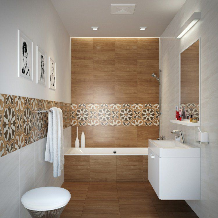 Carrelage salle de bain imitation bois 34 id es modernes for Carrelage ceramique salle de bain