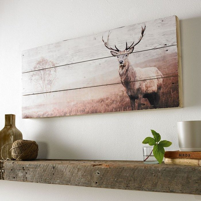 Stag Print On Wood Wall Art Wall Art by Graham and Brown   Home ...