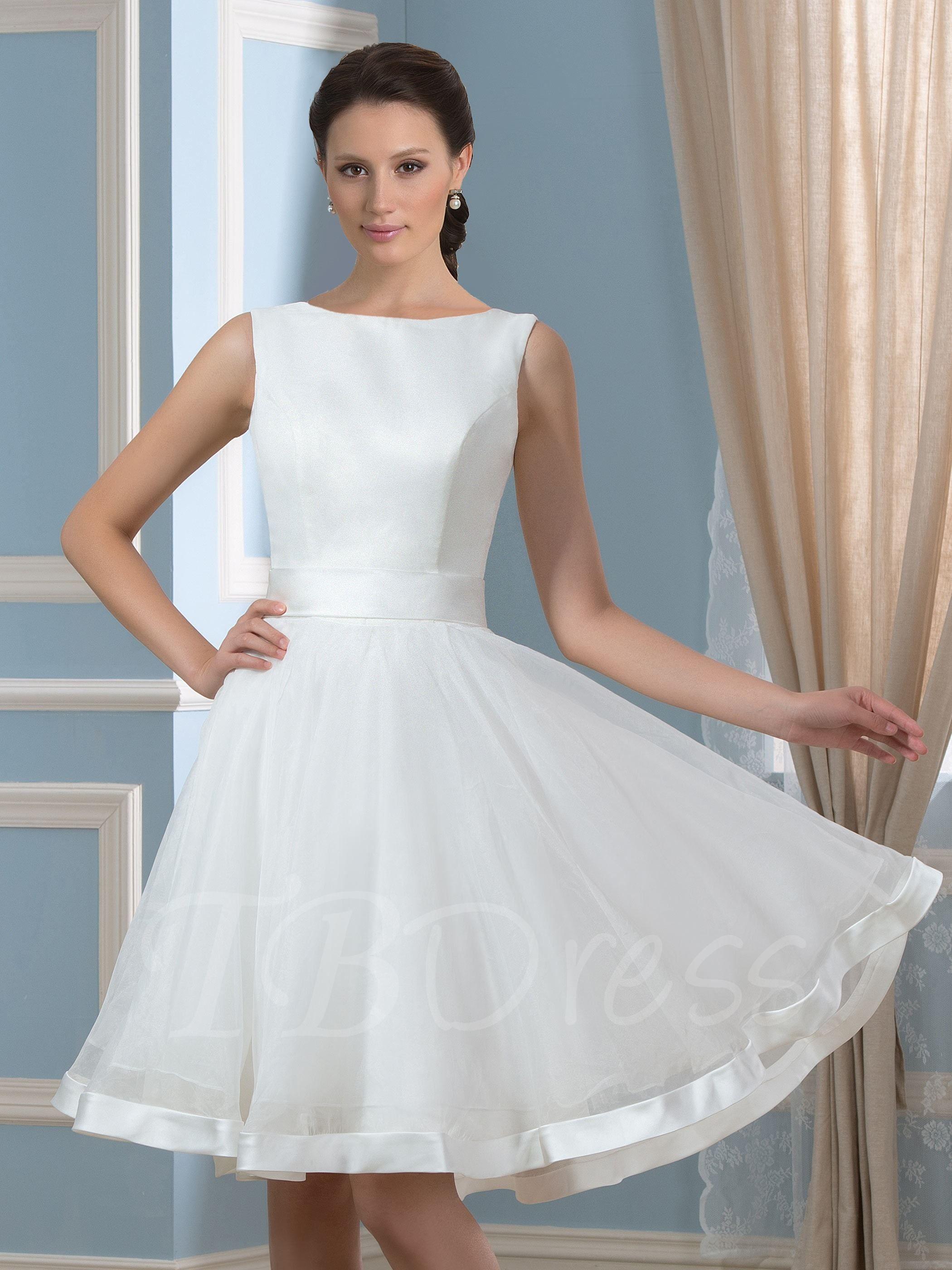 Bowknot open back short beach wedding dress in wedding stuffs