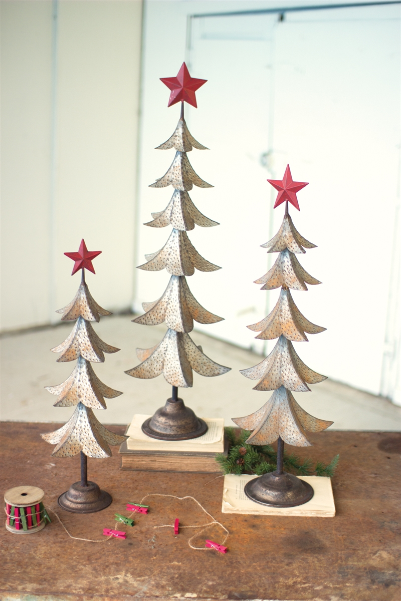 Set Of 3 Metal Trees With Red Star Rustic Metal Christmas Trees Metal Tree Metal Tree Wall Art Art Gallery Wall