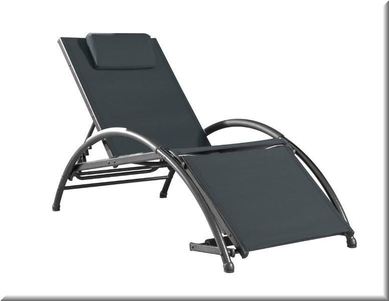 outdoor chaise lounge chair black aluminum adjustable foot