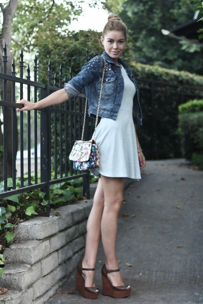 fe47544a68 flirty dress + jean jacket + wedges