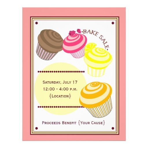Bake Sale Flyer Cupcakes Zazzle Com With Images Bake Sale