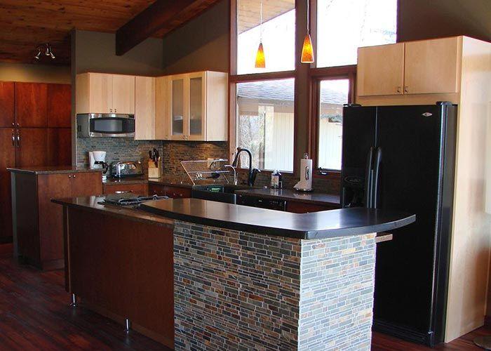 Kitchen Island With Stone Tile To Match Kitchen Tile Backsplash Transitional Kitchen Design Modern Kitchen Island Kitchen Design