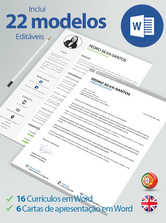 Modelos de currículos e de cartas de apresentação editáveis em Word