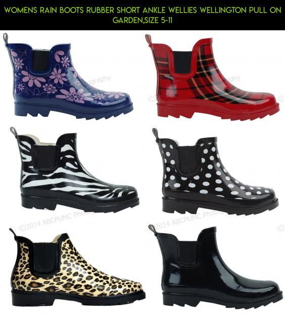 d6244bf3758a Womens Rain Boots Rubber Short Ankle Wellies wellington Pull On Garden