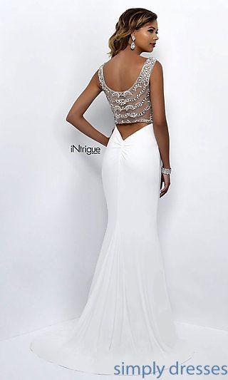 Beaded Sheer-Back Long White Formal Prom Dress | Formal prom dresses ...