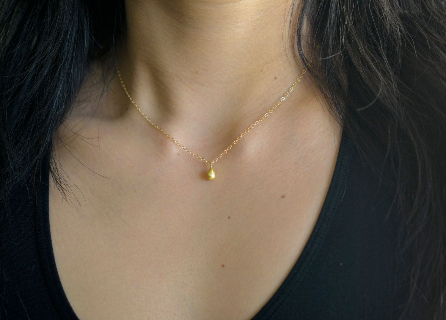 Little gold droplet necklace raindrop necklace gold drop necklace little gold droplet necklace raindrop necklace gold drop necklace minimalist teardrop charm necklace aloadofball Gallery