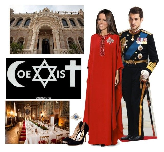 """""""The Queen hosts a dinner at Jacir Palace in honour of 30 years of Religious Coexistence in Jerusalem"""" by jumanaofpalestine ❤ liked on Polyvore featuring Emilio Pucci and Rupert Sanderson"""