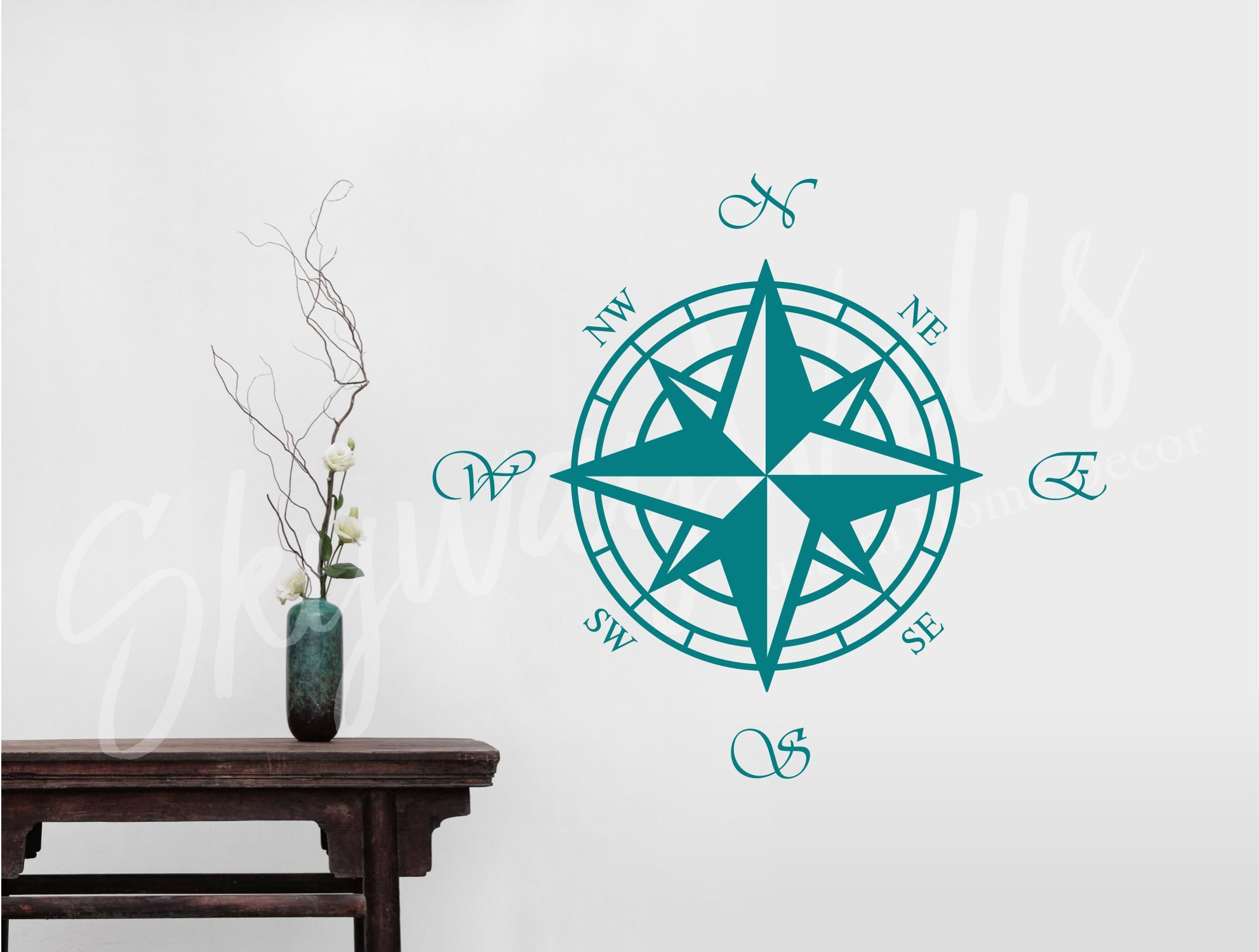 Compass Rose Nautical Vinyl Wall Decal Wall Art Home
