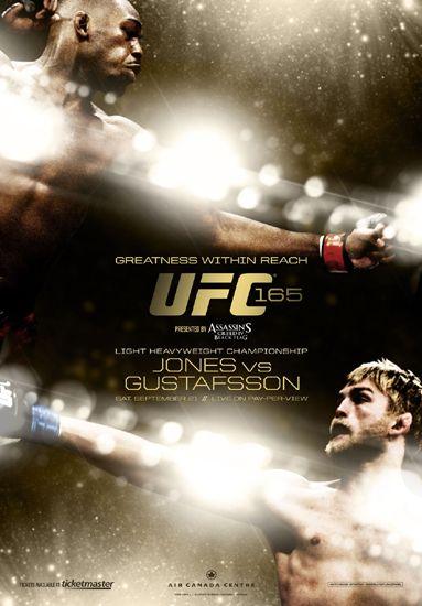 UFC 165 Official Fight Night Fight Bill Event Poster - Jon Jones vs Alexander Gustafsson, Toronto 9 - Available at www.sportsposterwarehouse.com