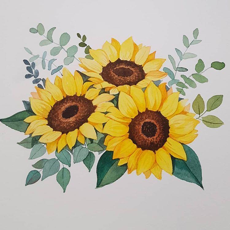 명절 후유증을 이겨내고 일상으로 복귀 노란꽃다발로 기분전환 수채화정규반모집 수채화정규반 모집중입니다 상단프로필 블로그에 가시면 자세한 내용확인하실수 있어요 Sunflower Painting Sunflower Art Watercolor Sunflower