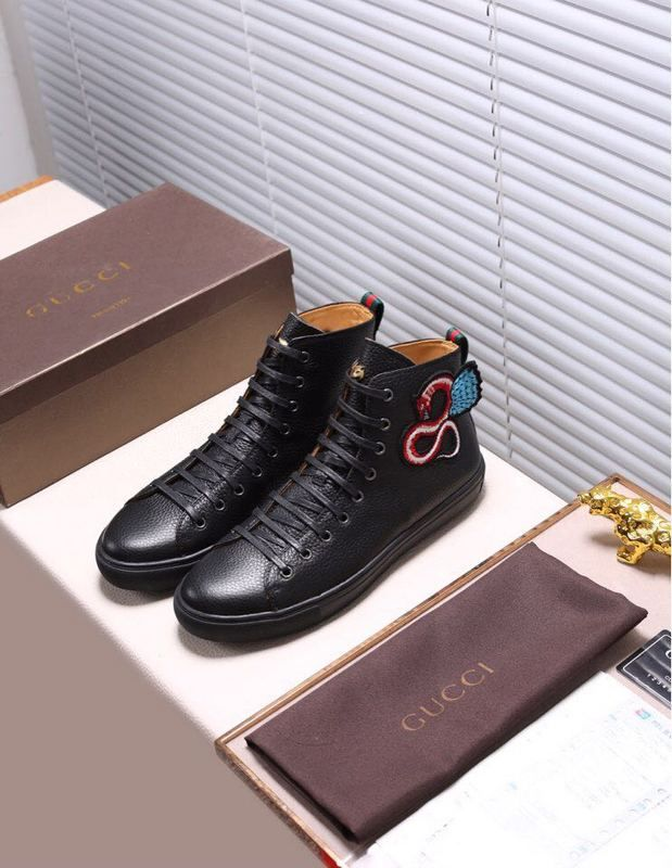 dc5465a0ccb Replica GUCCI Leather High-Top Sneaker With winged dragon Black Size 38-44  ID 31436