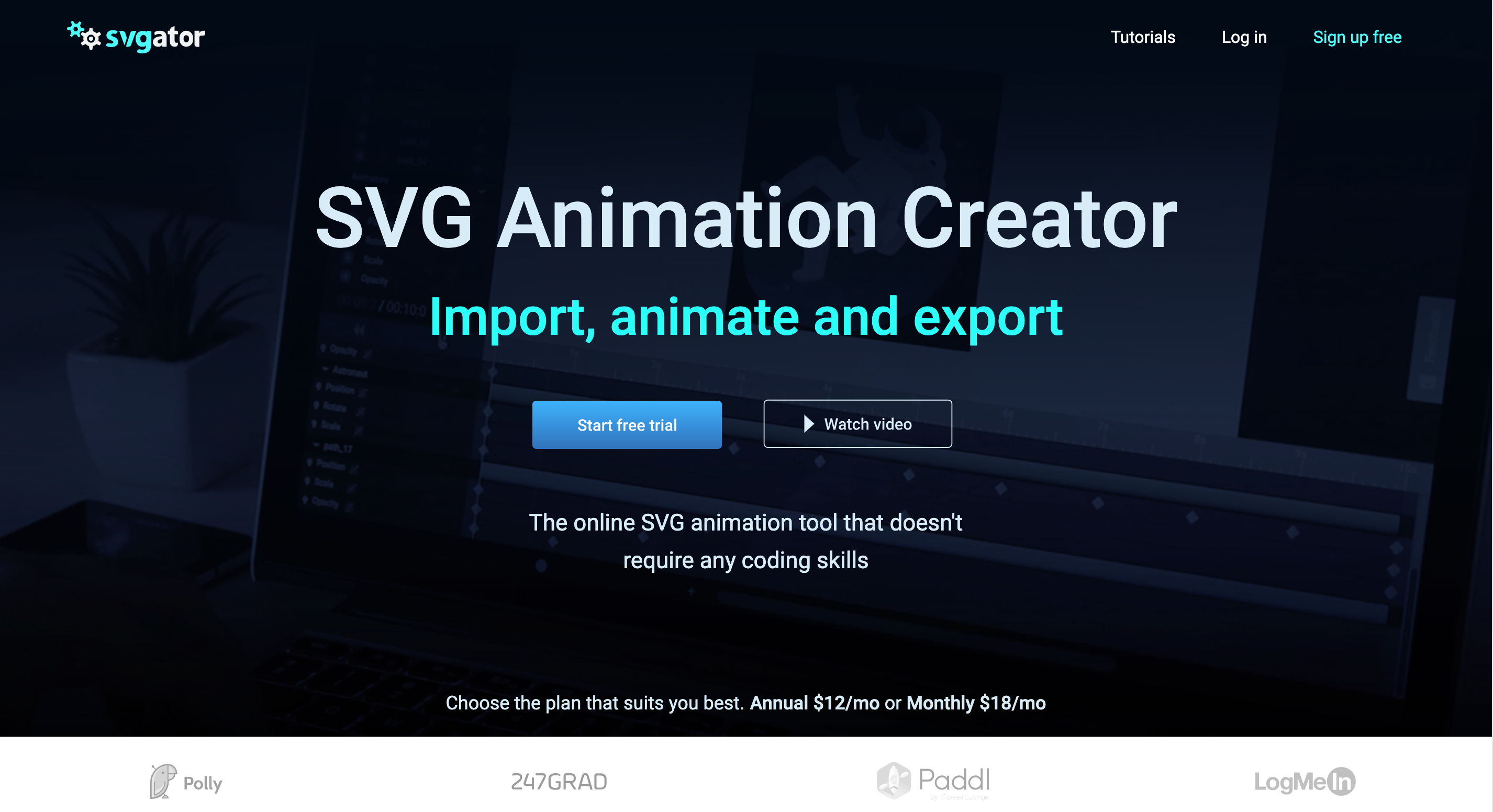 Online SVG animator to easily import, view, animate and