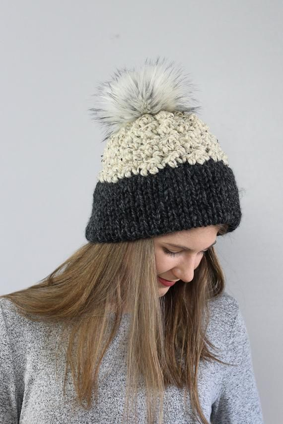 6816dcf4ba0dd Double Brim Beanie Chunky Winter Hat Simple Pom Hat Warm