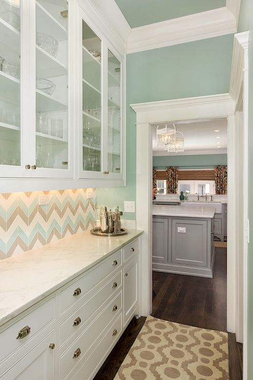 Butlers Pantry Design W Blue Gray Chevron Backsplash Ben Moore Wythe