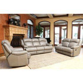 sam's club - hamptons top-grain leather reclining sofa, loveseat