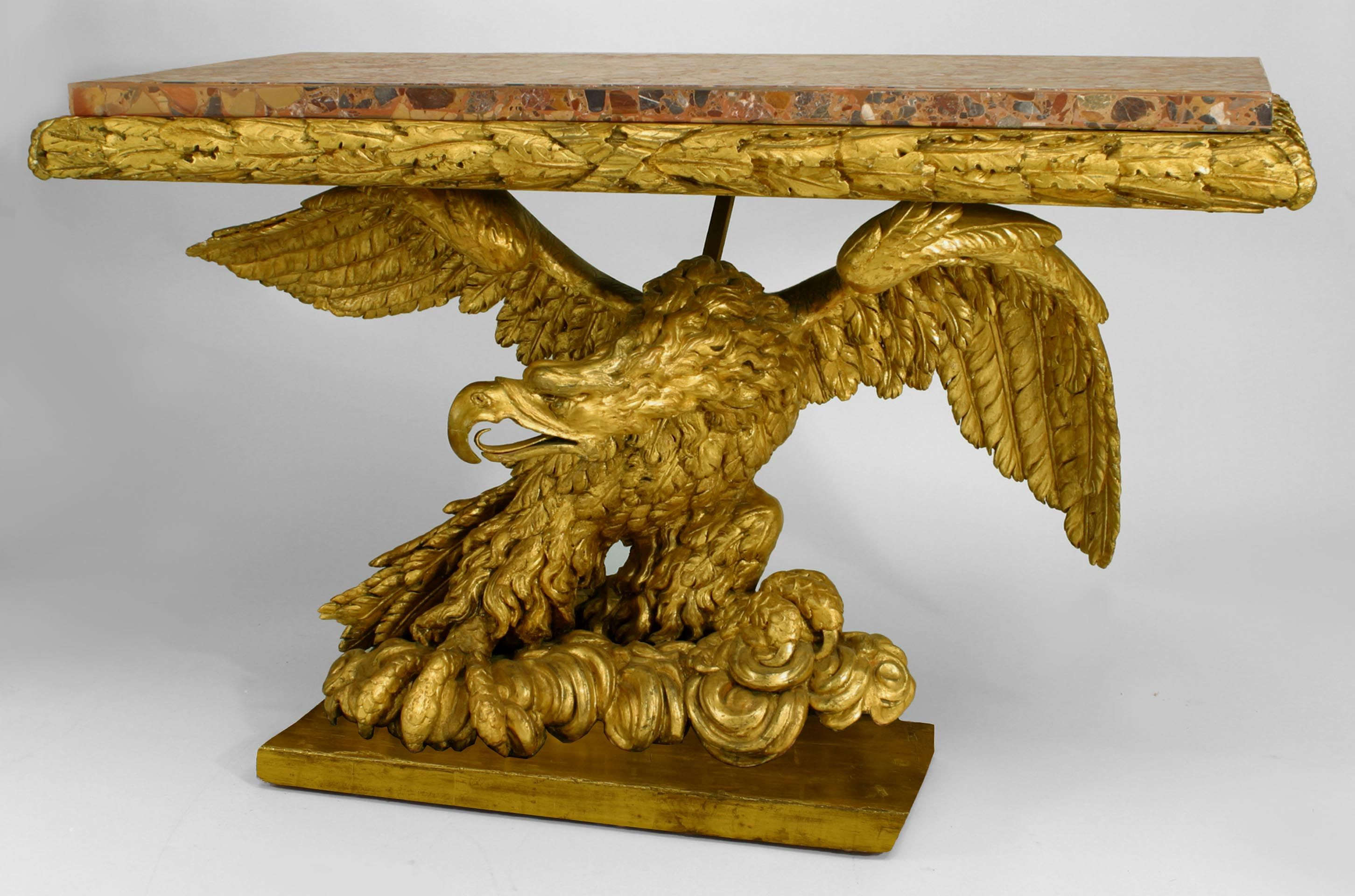 Continental Possibly Italian Gilt Carved Eagle Base Console Table 18th 19th Cent With Ebonized Platform Base And Gilded Furniture Carving Ornate Furniture