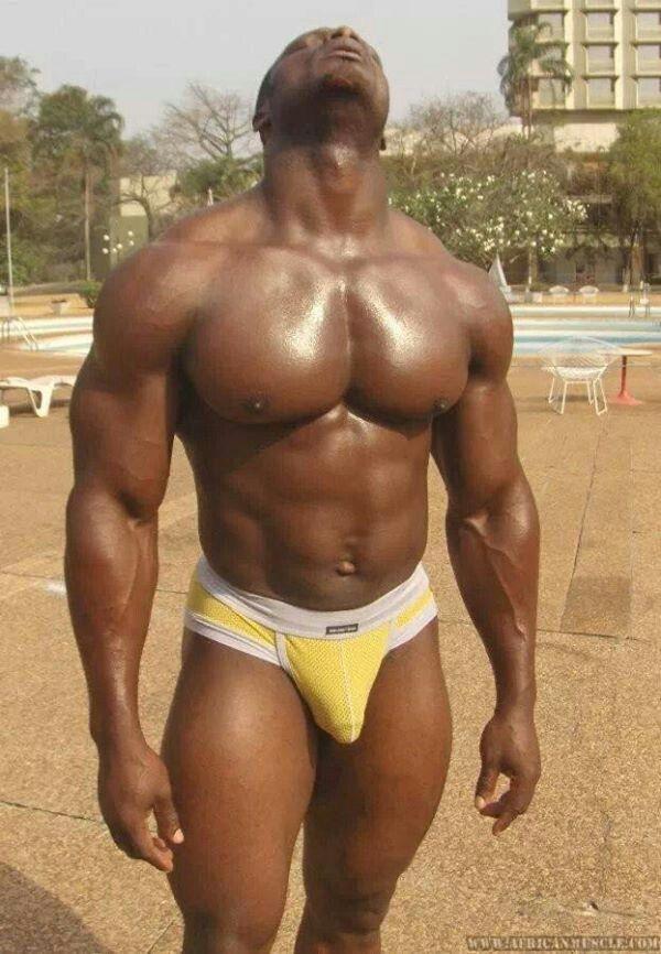 Muscular black men naked full length