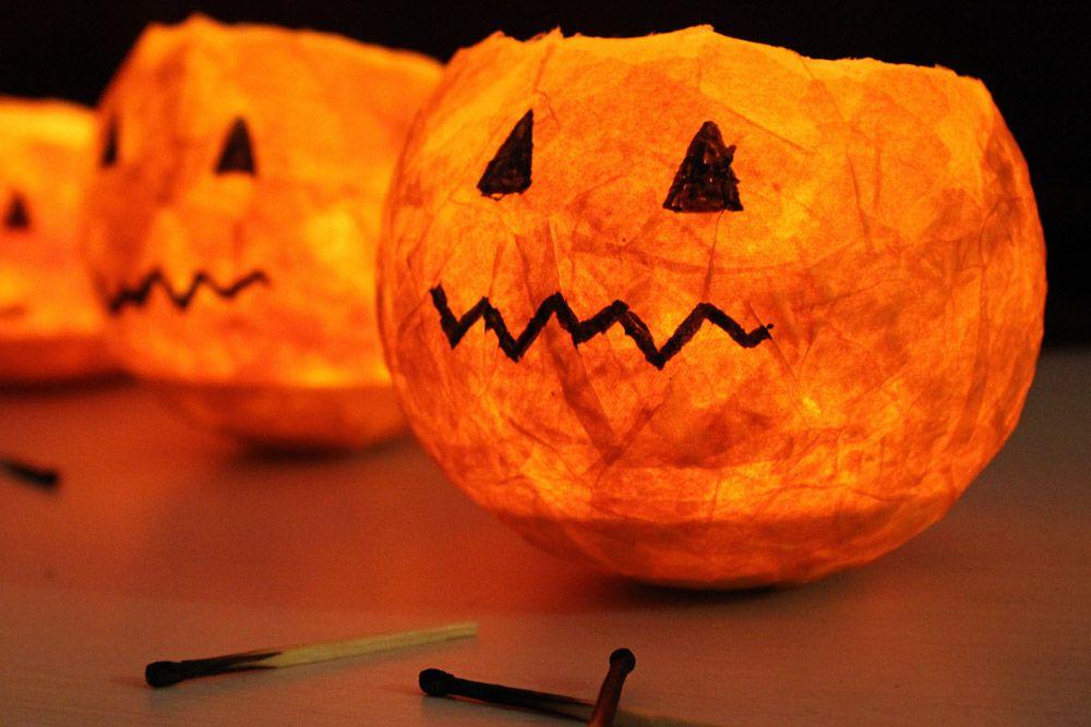 Diy Kürbis Windlichter Kürbis Basteln Halloween Selber