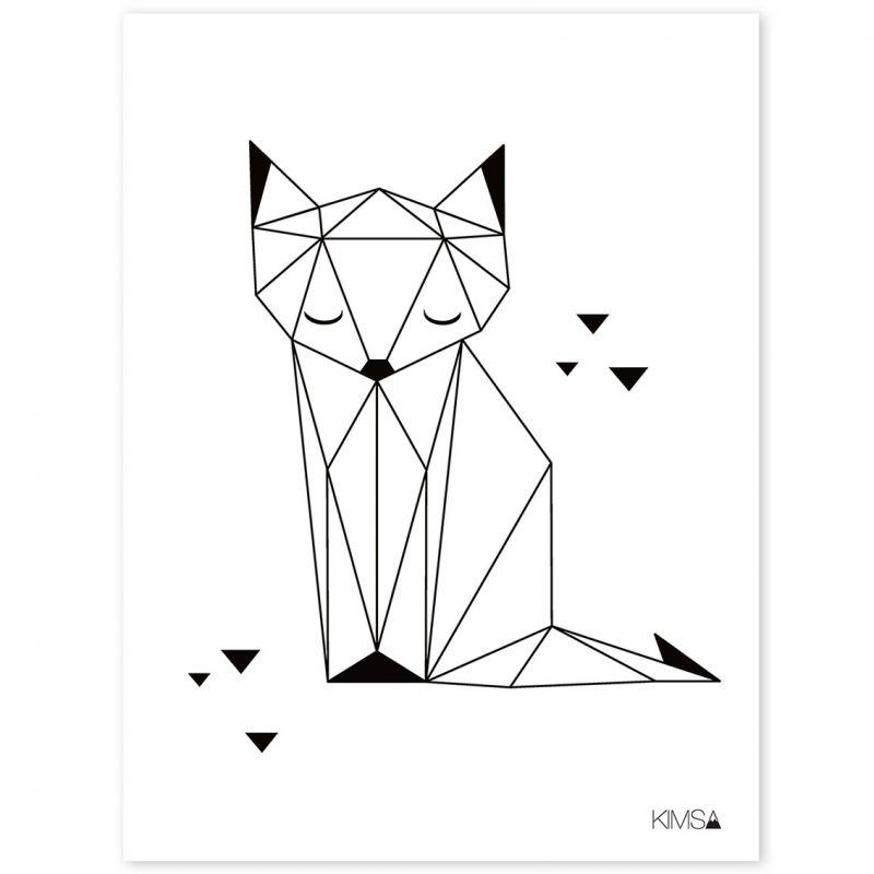Le poster géométrique renard Origami play by Claudia Soria pour - dessiner sa chambre en d