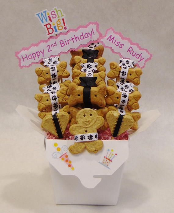 Personalized Dog Treat Birthday Gift Basket For Lovers Biscuit