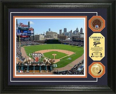 Detroit Tigers Comerica Park Gold Coin And Infield Dirt Framed Picture Myteamprints Com Framed Sports P Baseball Posters Detroit Tigers Mlb Stadiums