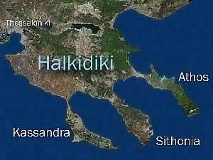 This is Halkidiki in Greece and its fingers Kassandra Sithonia