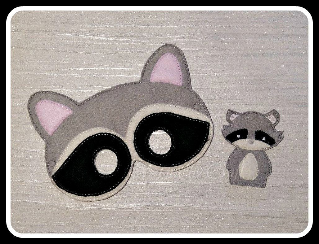 Raccoon Mask and Finger Puppet Set - Woodland Forest Animal Mask ...