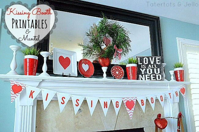 Valentine's Day Mantel with Free Printables! -- Tatertots and jello #DIY #Valentine's Day