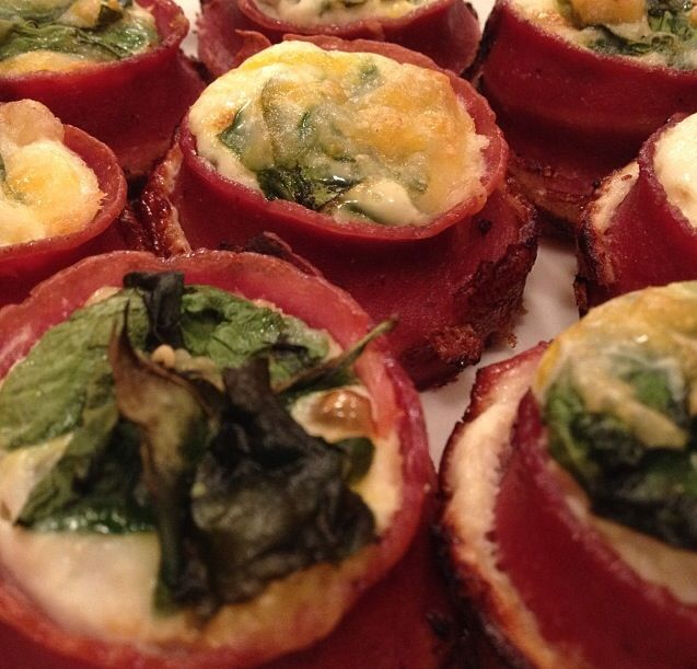 Turkey bacon egg cups with spinach & cheese