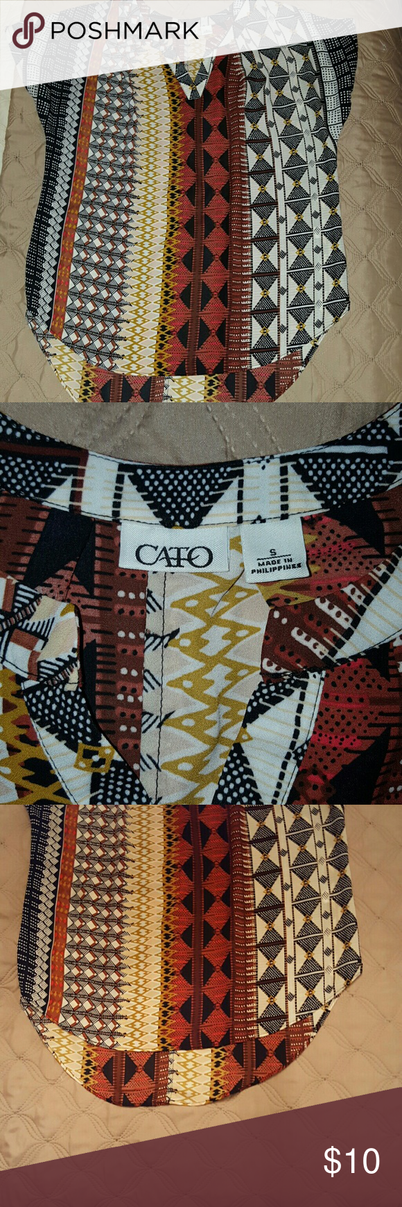 Tribal tunic Brand New. Short sleeve Tribal tunic blouse. Brand new. Size small. This runs a little big so it could also fit medium. Cato Tops