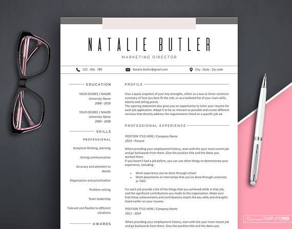 Professional Resume Template Instant Download, Creative Resume