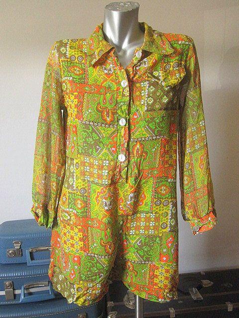 6477de2aaa6e Vintage 60s Yellow Orange Green Long Sleeve Linen Paisley Button Down Romper