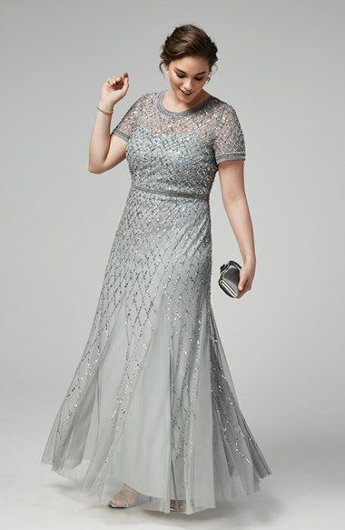 Adrianna Papell Beaded Gown & Accessories (Plus Size ...