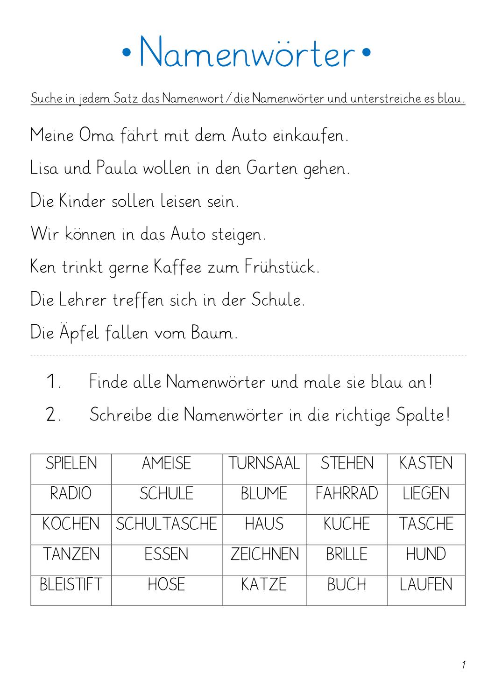 Namenworter Arbeitsmappe Unterrichtsmaterial In Den Fachern Daz Daf Deutsch Namenworter Unterrichtsmaterial Arbeitsmappe