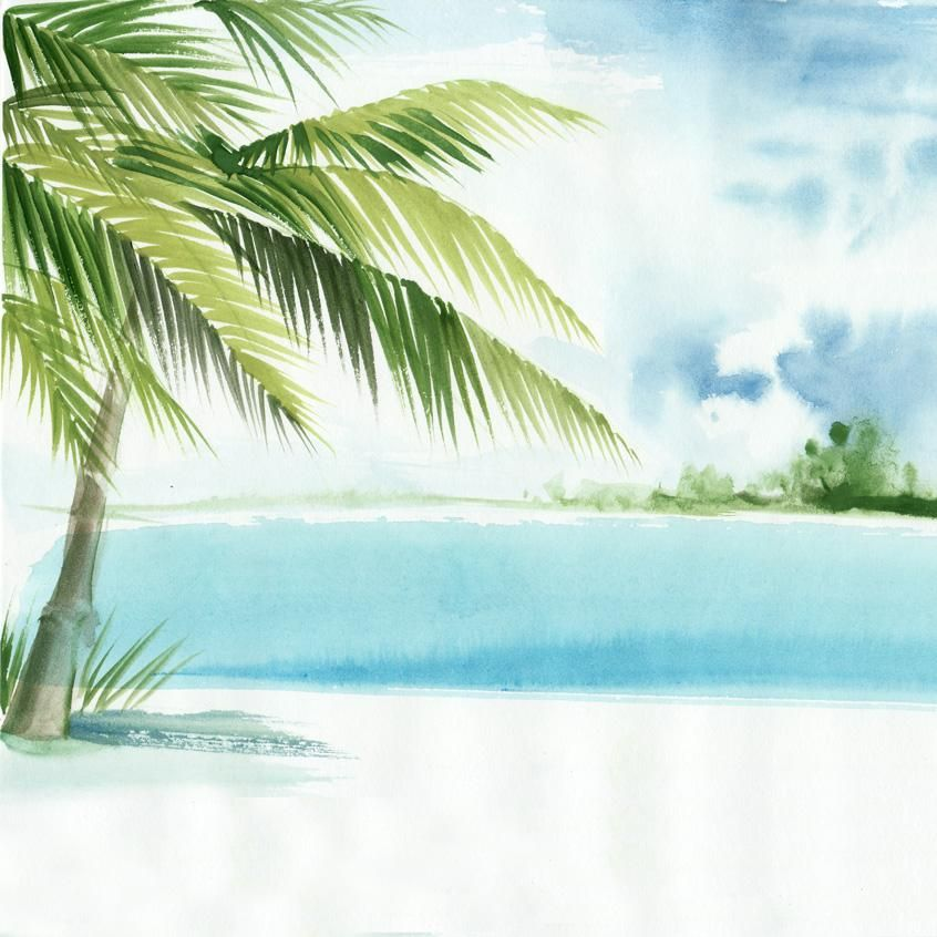 Watercolor Palm Tree Beach Scene Printed Backdrop 6368 In 2020
